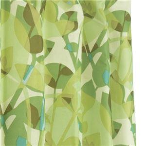12種類から選べる 間仕切りカーテン 巾60-110×丈200cm グリーン リーフ柄 間仕切り タッセル付き フック付き リングランナー付き ラウンドリーフ