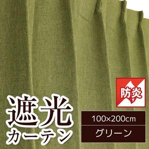 防炎遮光カーテン 2枚組 100×200cm グリーン 防炎 遮光 形状記憶 無地 ヴィーナス