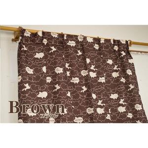 6柄から選べるアニマル柄4枚組カーテン 100×135cm ブラウン ブタ柄 ミラーレース ブタクン