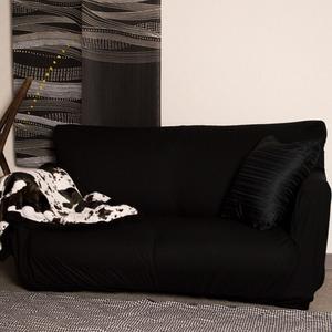 毛玉になりにくいストレッチソファーカバー/ソファーベッド用3人掛け肘なしブラック/ミクロワッフル生地洗える『プチ』