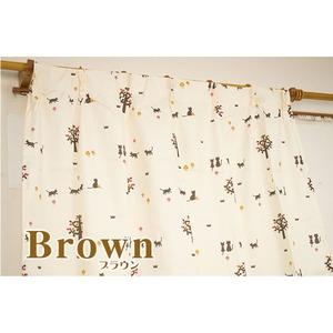 6柄から選べるアニマル柄4枚組カーテン 100×135cm ブラウン ネコ柄 ミラーレース ミーケ