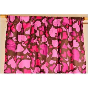 ハート柄遮光カーテン 2枚組 100×135cm ピンク 小悪魔系 かわいい キュート 洗える ハート