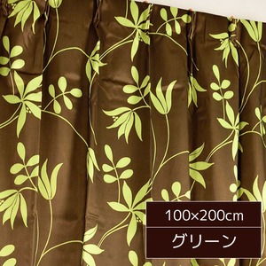 ボタニカル柄遮光カーテン 2枚組 100×200cm グリーン 遮光 洗える 植物柄 ヒルズ