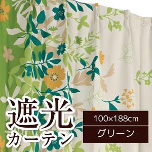 6種類から選べる遮光カーテン 2枚組 100×188cm グリーン 遮光 形状記憶 洗える リーフ柄 ボタニカル柄 フロー