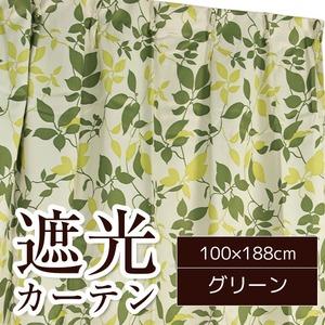 おしゃれなリーフ柄遮光カーテン 【2枚組 100×188cm】 グリーン 洗える 『リーフ』