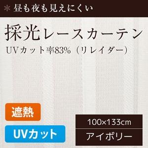 採光レースカーテン/目隠し 【2枚組 100×133cm/リレイダー】 UVカット機能付き 遮熱 遮像 洗える