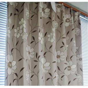 可愛らしい花柄遮光カーテン 2枚組 100×225cm ベージュ 2級遮光 花柄 形状記憶 ビアンテ