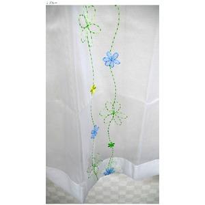 刺繍花柄デザインレースカーテン 2枚組 100×198cm ブルー レースカーテン 花柄 タッセル付き パルティ