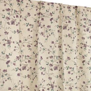 窓際を愉しむ麻混レースカーテン 【2枚組 100×198cm/ゴッホ】 パープル 花柄 タッセル付き 洗える