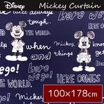 ディズニー ミッキーマウス カーテン 【2枚組 100×178cm ネイビー】 タッセル付き 洗える 形状記憶 ミッキーOT