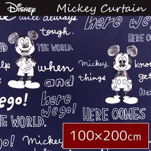 ディズニー ミッキーマウス カーテン / 2枚組 100×200cm ネイビー / 洗える 形状記憶 ミッキーOT