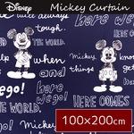 ディズニー ミッキーマウス カーテン 【2枚組 100×200cm/ネイビー】 タッセル付き 洗える 形状記憶 ミッキーOT