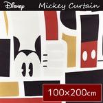ディズニー ミッキーマウス カーテン 【2枚組 100×200cm/ブラック】 タッセル付き 洗える 形状記憶 ミッキーAP