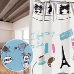 ディズニー ミッキーマウス カーテン 【2枚組 100×200cm/ブルー】 タッセル付き 洗える 形状記憶 ミッキーFU