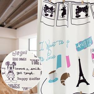 ディズニー ミッキーマウス レースカーテン 【2枚組 100×198cm/ホワイト】 遮像・UVカット機能付き 洗える ミッキーOTL