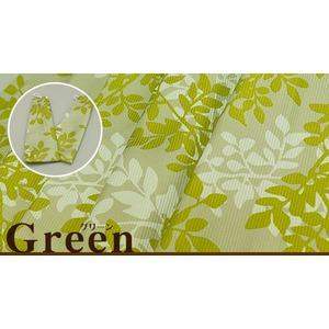 リーフ柄カーテン 【計4枚組 100×135cm/グリーン】 ミラーレースカーテン付き 洗える 『グラシア』
