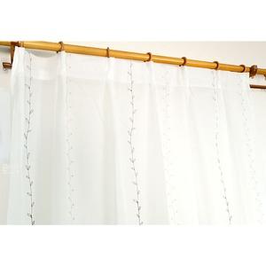 刺繍リーフ柄レースカーテン 【1枚のみ 150×223cm】 ホワイト 洗える 『刺繍プチリーフ』