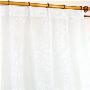 フロッキーレースカーテン 【1枚のみ 150×223cm】 ホワイト 洗える ツリーシルエット 『フロッキーコダチ』