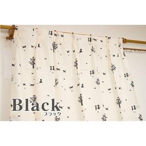選べるアニマル柄カーテン 【計4枚組 100×135cm/ブラック ネコ柄 ミーケ】 ミラーレースセット 洗える