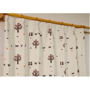猫柄遮光カーテン 【2枚組 100×135cm】 オレンジ 形状記憶 洗える 『ネコタン』