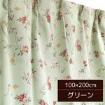 バラ柄遮光カーテン 【2枚組 100×200cm/グリーン】 洗える・形状記憶 薔薇柄 3級遮光 『ファンシー』