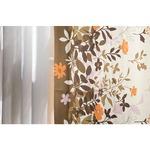 6種類から選べるリーフ柄遮光カーテン 【2枚組 100×200cm/ブラウン】 形状記憶 洗える ボタニカル柄 『フロー』