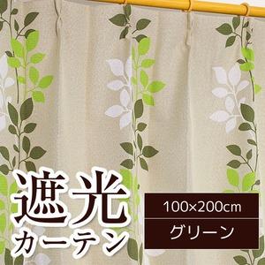 おしゃれなリーフ柄遮光カーテン 【2枚組 100×200cm】 グリーン 洗える 形状記憶 『リーフレット』