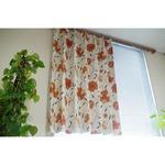 かわいい花柄 遮光カーテン 目隠し / 2枚組 100×110cm オレンジ / 2級遮光 洗える 形状記憶 『ビアンテ』