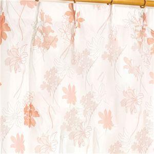 外から見えにくい遮像レースカーテン 【2枚組 100×133cm/ピンク】 フラワー柄 洗える ボイルレース タッセル付き