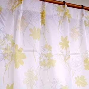 外から見えにくい遮像レースカーテン 【2枚組 100×133cm/イエロー】 フラワー柄 洗える ボイルレース タッセル付き