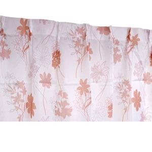 外から見えにくい遮像レースカーテン 【2枚組 100×176cm/ピンク】 フラワー柄 洗える ボイルレース タッセル付き