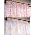 外から見えにくい遮像レースカーテン 【2枚組 100×198cm/ピンク】 フラワー柄 洗える ボイルレース タッセル付きの画像