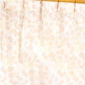 外から見えにくい遮像レースカーテン 【2枚組 100×133cm/ローズ】 リーフ柄 洗える ボイルレース タッセル付き