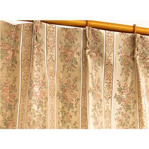 エレガントで華やかな遮光カーテン/目隠し【2枚組100×178cm/ローズ】3級遮光二重加工洗える形状記憶『メルシャ』