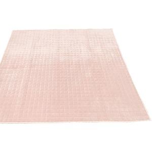 7色から選べる キルティングラグ 200×250 ピンク ラグ 敷布団 ホットカーペット対応 洗える シンプル キルト 縁チェック柄 エース掛け - 拡大画像