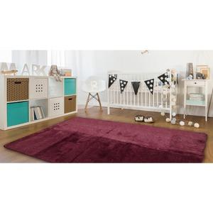 ラグマット/絨毯 【185cm×185cm 正方形 ワイン】 洗える ホットカーペット 床暖房対応 防音 『ウィズダムラグ』