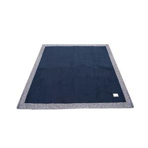 ラグ 185×185cm 正方形 ネイビー 洗える ラグマット ホットカーペット対応 床暖房 秋用 冬用 ニットフランネルラグ