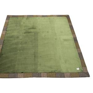 ラグ 185×185 正方形 グリーン 洗える ラグマット ホットカーペット対応 床暖房 秋用 冬用 ガイヤラグ