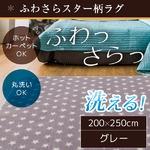 ラグ 200×250cm 長方形 グレー 洗える ラグマット ホットカーペット対応 床暖房 秋用 冬用 スターラグ