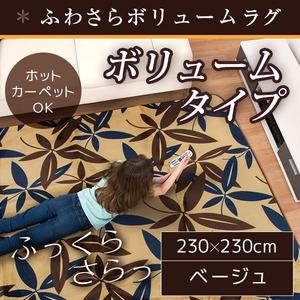 ラグ ボリュームタイプ 185×185 正方形 ベージュ ラグマット ホットカーペット対応 床暖房 秋用 冬用 ボタリーフラグ