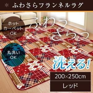 ラグ 200×250 長方形 レッド 洗える ラグマット ホットカーペット対応 床暖房 秋用 冬用 バチェララグ