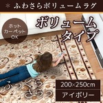 ラグ ボリュームタイプ 200×250 長方形 アイボリー ラグマット ホットカーペット対応 床暖房 秋用 冬用 サラサボリュームラグ