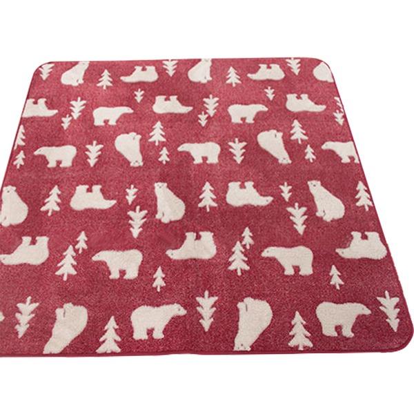 ラグ 185×185cm 正方形 レッド 洗える ラグマット ホットカーペット対応 床暖房 秋用 冬用 ジャガード白クマラグ