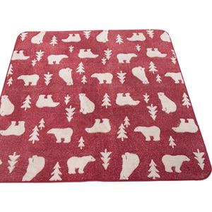ラグ 200×250cm 長方形 レッド 洗える ラグマット ホットカーペット対応 床暖房 秋用 冬用 ジャガード白クマラグ - 拡大画像