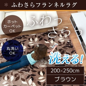 ラグ 200×250cm 長方形 ブラウン 洗える ラグマット ホットカーペット対応 床暖房 秋用 冬用 フォリアラグ