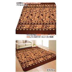 ラグ ボリュームタイプ 185×185cm 正方形 ブラウン ラグマット ホットカーペット対応 床暖房 秋用 冬用 サラサボリュームラグ