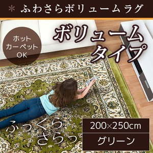 ラグ ボリュームタイプ 200×250 長方形 グリーン ラグマット ホットカーペット対応 床暖房 秋用 冬用 エルバボリュームラグ