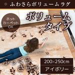 ラグ ボリュームタイプ 200×250cm 長方形 アイボリー ラグマット ホットカーペット対応 床暖房 秋用 冬用 エバリーフボリュームラグ