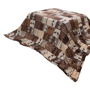 こたつ布団 190×190 正方形 ブラウン 掛け布団 フランネル 収納ケース付き カントリーノルディック掛け