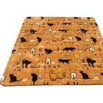 ラグマット/絨毯 【130cm×185cm 長方形 ベージュ】 洗える ホットカーペット対応 フランネル地 防音 『シルエットキャット』